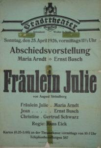 Plakat zu Ernst Buschs Abschiedsvorstellung in Frankfurt/Oder