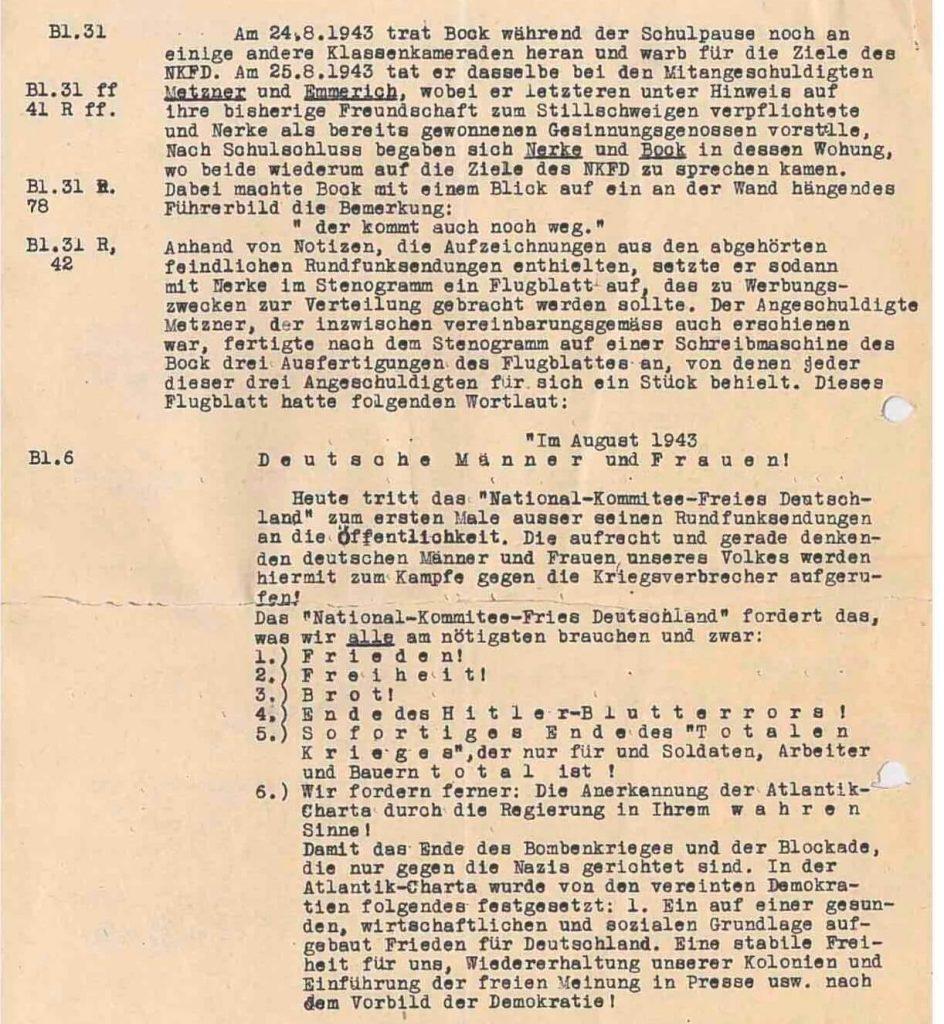 Abschrift des Flugblattes der Widerstandsgruppe aus den Gerichtsakten 1943