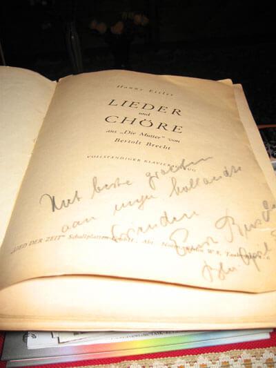 Widmung von Ernst Busch für Eberhard Rebling und Lin Jaldati