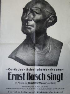 Plakat zu einer Ernst-Busch-Veranstaltung von Charlotte Wasser