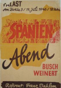 Plakat zu einem Spanienabend mit Ernst Busch und Erich Weinert